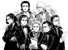 """Salieri and his students+Mozart+Chopin Music Humor, Music Memes, Florent Mothe, Classical Music Composers, Music Wallpaper, Retro Wallpaper, Iphone Wallpaper, Strange Music, Mozart"