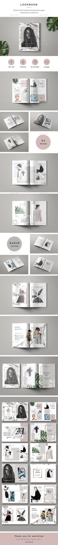 Inspiration Lookbook by GrizzlyDesign Features:24 unique pages Premade magazine cover Size A4 (210×297)& Size US letter (215,9 × 279,4) Indd (InDesign format) Idml (InD