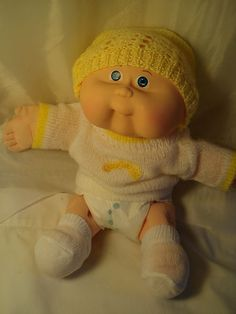 Vintage 80's Bean Butt Babies Cabbage Patch Doll Blue Eyes SS HM# 20 No Pox for sale at irishcherrydoll.com