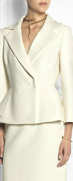 Giambattista Valli ● FW 2014, Ivory stretch-twill suit