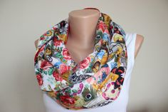 Red Scarf Colorful Rose Butterfly Queen High Fashion by ScarfAngel
