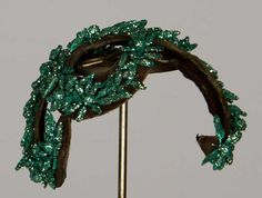 Bes-Ben hat, 1950's | Dark green velvet band covered with glitter green flowers