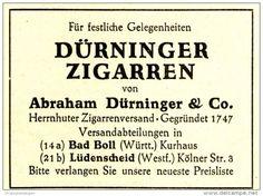 Original-Werbung/Anzeige 1949 - DÜRNINGER ZIGARREN / HERRNHUTER ZIGARRENVERSAND /BAD BOLL - LÜDENSCHEID - ca. 60 x 45 mm