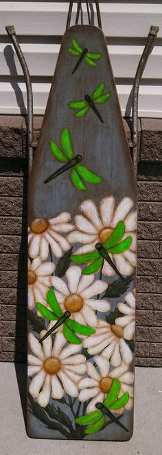 Daisies & Dragonfly on ironing board