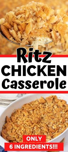 A comforting one-dish ritz chicken casserole recipe made with only 6 ingredients! This easy casserole recipe features with shredded chicken in a rich and creamy sauce topped with buttery Ritz crackers. #casserole #chicken #ritzcrackers #onedish #easydinner #chickenrecipes #casserolerecipes Easy Chicken Dinner Recipes, Shredded Chicken Recipes, Recipes Dinner, Easy Healthy Recipes, Quick Easy Meals, Health Recipes, Ritz Chicken Casserole, Quiche Recipes, Casserole Recipes