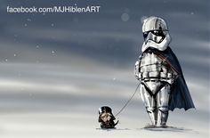 Captain Phasma with Darth Pug by MJ Hiblen Star Wars Vii, Star Wars Fan Art, Gwendolyn Christie, Star Wars Crafts, Fantasy Illustration, Pug Love, Dog Walking, Cosplay Costumes, Pugs