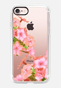 Casetify iPhone 7 Case and Other iPhone Covers - Floral Cascade - Summer Spring Flowers - Coral Pink by HAPPY CAT PRINTS | #Casetify