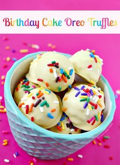 Birthday Cake Oreo Truffles – Golden Birthday Cake Oreos pummeled into crumbs, mixed with cream cheese, rolled, dipped into birthday cake  chocolate and drizzled in sprinkles; your delicious birthday treat! #birthdaycake #birthdaycakechocolate #oreotruffles #oreocookies #oreos #sprinkles #jimmies #birthdaycakeoreotruffles Best Dessert Recipes, Candy Recipes, Baking Recipes, Sweet Recipes, Fun Desserts, Delicious Desserts, Oreo Cookie Recipes, Kitchen Recipes, Healthy Desserts