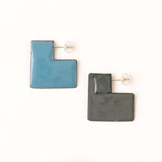 'Enfold' earrings - square Stormcloud & Blue (double sided so that the same colour faces outwards) vitreous enamel, copper & sterling Silver Vitreous Enamel, Square Earrings, Im Not Perfect, Cufflinks, Copper, Faces, Victoria, Jewellery, Sterling Silver