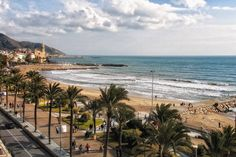 The beautiful beach in Sitges Spain from the balcony of the Hotel Calipolis.  #photos #photography #photo #scenic #beautiful #landscape #spain #espana #mediterraneansea #beach #foto #travel #vacation #sun #sand #europe