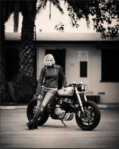 Classified Moto posted this teaser of Katee Sackhoff (from Longmire the TV series) and her bike… I'm excited to see the rest, are you? It's a Honda XR600R with a 70s CB350 tank.
