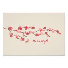 Watercolor Cherry Blossom Wedding RSVP Invite