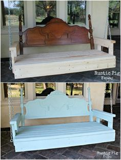 20 Astonishing Repurposing Ideas For Old Headboards And Footboards Repurposed Headboard Porch Swing Headboard Benches, Headboard And Footboard, Headboards For Beds, Headboard Makeover, Headboard Art, Bookcase Headboard, Headboard Ideas, Refurbished Furniture, Repurposed Furniture