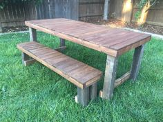 Now available from Barn Door Creations this is a rustic farmhouse style dining table and benches made from reclaimed pallets and fence posts $275.00 unfinished, $300.00 stained.www.facebook.com/barndoorcreations