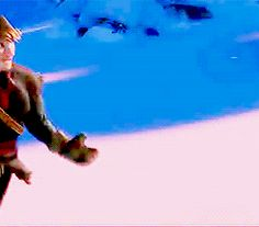Disney's Frozen gif - Anna and Kristoff running in the snow - so cute! (more gifs in the link)