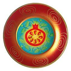 "Rosh Hashanah Pomegranate Hand Painted Glass Plate 10"""