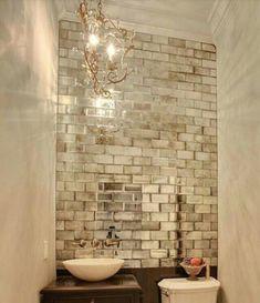 Antique Mirror Tiles, Mirror Wall Tiles, Antiqued Mirror, Decorative Mirrors, Antique Mirror Splashback, Mirror Backsplash, Bathroom Glass Wall, Mirrored Tile Bathroom, Mirrored Walls
