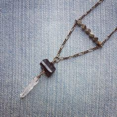 Black Tourmaline Pyrite and Hanging Quartz by MarleeCWatts on Etsy