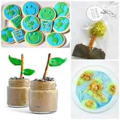 20 Earth Day Snacks for Kids Fun choices for toddlers preschoolers older kids and adults Cookies cupcakes fruit healthy choices and Earth Day Projects, Earth Day Crafts, Picnic Snacks, Earth Hour, Earth Day Activities, Holiday Snacks, Toddler Snacks, Baking With Kids, Cupcake Cookies