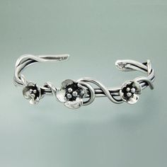 Sherry Tinsman Sterling Silver Wrap Vine Cuff With Dogwood Flowers