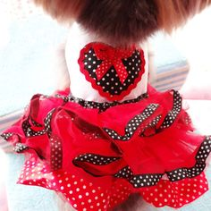 Does Your fur-baby need a Christmas party dress? Urparcel Pet Dog Tutu Princess Dress Clothes Love Heart Print Bowknot Party Skirt M
