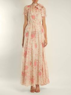 VALENTINO Neck Tie Rose Print Silk Chiffon Cream Gown @ Weselectdresses.com