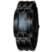 Lujo LED Electrónico Azul Binario Hombres Reloj Luminoso LED Reloj Deportivo Reloj Digital De Acero Inoxidable Hombres de Las Mujeres