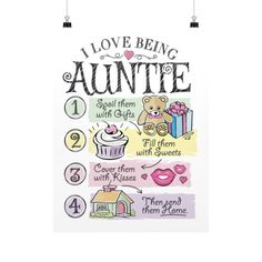 """Buy 2 or More & Get Free Shipping!! Limited Edition """"I LOVE BEING AUNTIE"""" Vertical Fine Art Prints (Posters) Limited Number Available so Add to Cart and Checkout Now! Product Details High quality post"""