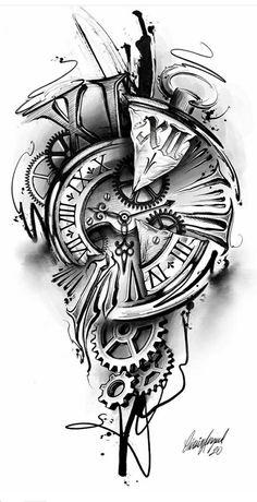 Clock Tattoo Sleeve, Best Sleeve Tattoos, Tattoo Sleeve Designs, Tattoo Designs Men, Time Clock Tattoo, Time Piece Tattoo, Clock Tattoos, Half Sleeve Tattoos Drawings, Skull Sleeve Tattoos