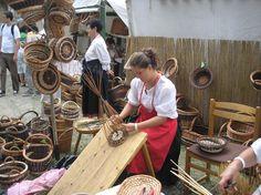 Basket weaving using willow.