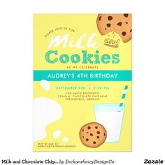 "Milk and Chocolate Chip Cookies Birthday Party Magnetic Card Make their birthday celebration as sweet as can be with a milk and cookies party theme! The Milk and Chocolate Chip Cookies Birthday Party Invitation will help set the tone for a perfectly yummy day. This cute 5""x7"" magnet invite features cheerful shades of yellow and blue. Don't forget to tie the cookie theme together with coordinating party product designs by Enchantfancy Design Company."
