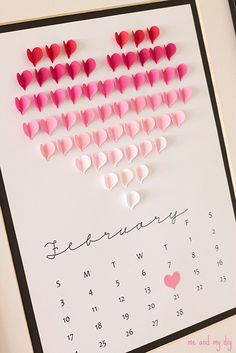 DIY heart calendar, via dustjacket attic