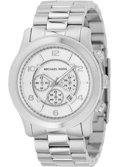 Its time to make a bold statement. Don this timeless mens chronograph watch by Michael Kors. The stainless steel case and bracelet along with the silver chronograph dials make this a signature piece. Plus, its water resistant up to 100 meters.