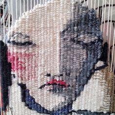 Tapestry face, work in progress. Rachel Hine, Geelong tapestry weaver. 2017 www.rachel-hine.com