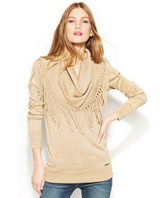 MICHAEL Michael Kors Fringed Cowl-Neck Sweater