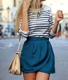 horizontal striped tee balanced with a paper bag waist wrap front jewel-blue skirt
