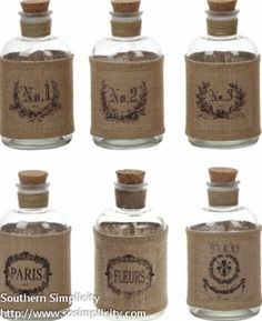 Burlap Wrap Glass Bottles