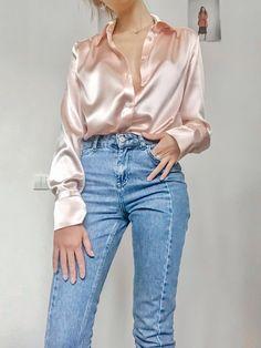 Women silk shirt in peach pink Silk blouse Long sleeve blouse Womens button down shirt Office silk shirt Silk clothing Silk basics Silk top - Fashion City Look Fashion, Fashion Outfits, Fashion Women, Gothic Fashion, Fashion Ideas, Fashion Shirts, Edwardian Fashion, Fashion 2018, Cheap Fashion