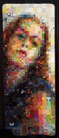 """""""Selfie"""" quilt by Kristin La Flamme. A portrait of the artist as her stash. Photo by irish thREDhead: International Quilt Festival Fall 2014"""