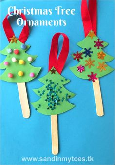 Cute and easy Christmas tree ornaments using craft sticks that kids of any age can make!