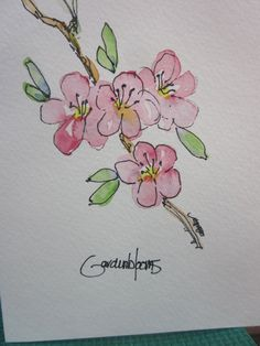 Fruit Trees in Bloom Watercolor Card by gardenblooms on Etsy, $3.50