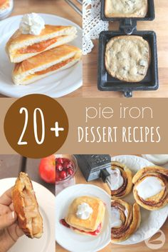 We love using these pie iron dessert recipes whenever we go camping. They are perfect for camp cooking over the open fire. Campfire Desserts, Campfire Food, Campfire Recipes, Desserts For Camping, Camp Desserts, Grilling Recipes, Pie Iron Recipes, Pumpkin Pie Recipes, Apple Recipes