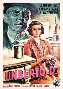 Umberto D. Italian neorealist film. Carlo Battisti, Maria-Pia Casilio, Lina Gennari. Directed by Vittorio De Sica. 1952