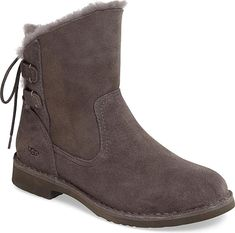 UGGR Women's Shoes in Charcoal Nubuck Leather Color. Ghillie-style laces trace the back of a Western-inspired bootie lined with genuine shearling for cozy comfort and fitted with an UGGpure insole atop a Treadlight sole. UGGpure is a textile made entirely from wool but engineered to feel and wear like genuine shearling. #UGGR #charcoal #shoes #fashion #style