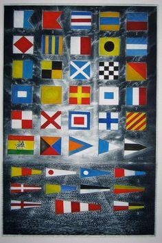 Flags for David Judah:   The International Code   (2009) David Blackwood. Etching and watercolour.