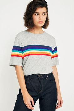 Slide View: 1: UO Rainbow Striped Sleeve T-Shirt