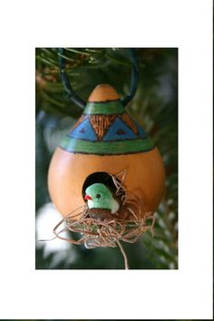 Rustic Birdhouse Gourd Ornament  Blue and Green by myladyofgourds