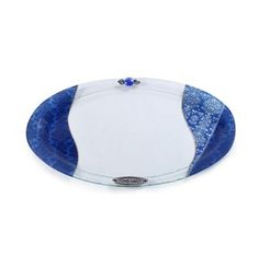 Oval Glass Challah Tray with Blue