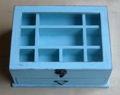 Light Blue Shabby Chic Wooden Jewelry Box by tammnoony on Etsy
