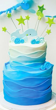 ) Whale Themed Baby Shower I like the wave design fondant around this - could use for a yacht/ship/pirate themed cake.I like the wave design fondant around this - could use for a yacht/ship/pirate themed cake. Baby Cakes, Baby Shower Cakes, Baby Shower Themes, Baby Boy Shower, Cupcake Cakes, Shower Ideas, Ocean Theme Baby Shower, Whale Cakes, Ocean Cakes